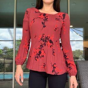 Simply Vera Wang Red Floral Long Sleeve Blouse XS